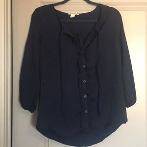 Navy blue button up blouse with tie neck